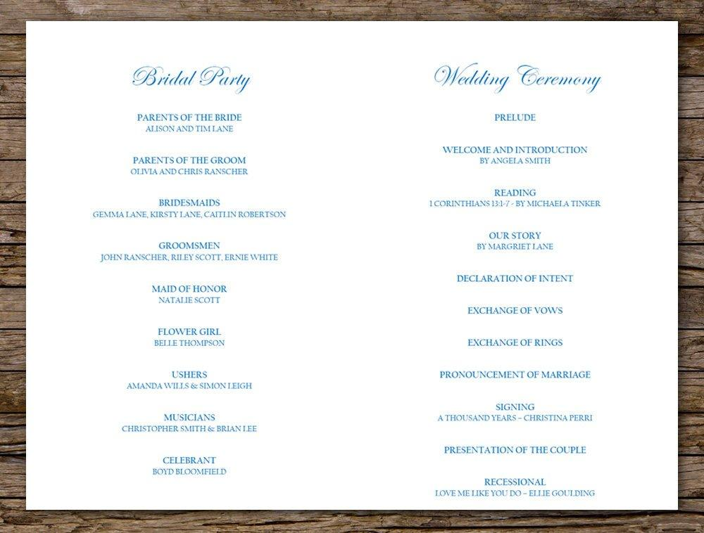 photograph relating to Printable Wedding Programs titled Typical Blue Floral Wedding ceremony Software program Printable Template