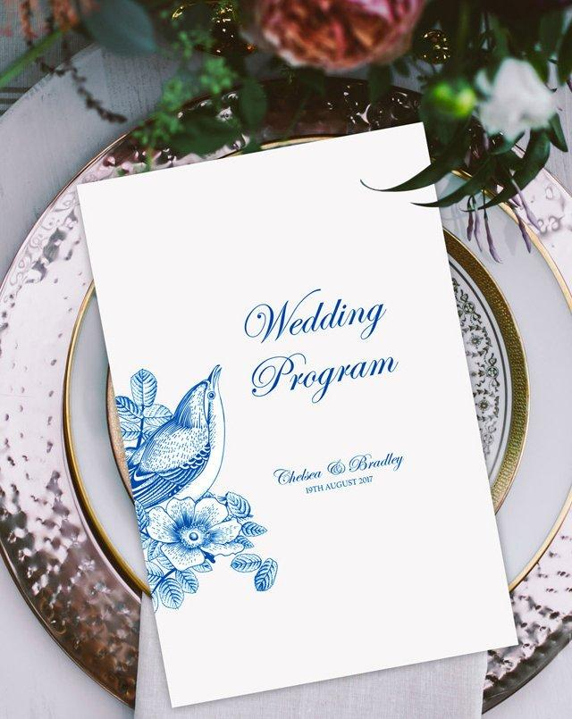 Printable Wedding Program, Order of Service, Reception Program Template, Wedding Program PDF, Vintage Wedding Program, Rustic Program