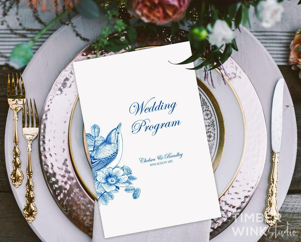 Vintage Blue Floral Wedding Program Printable Template Instant Download PDF