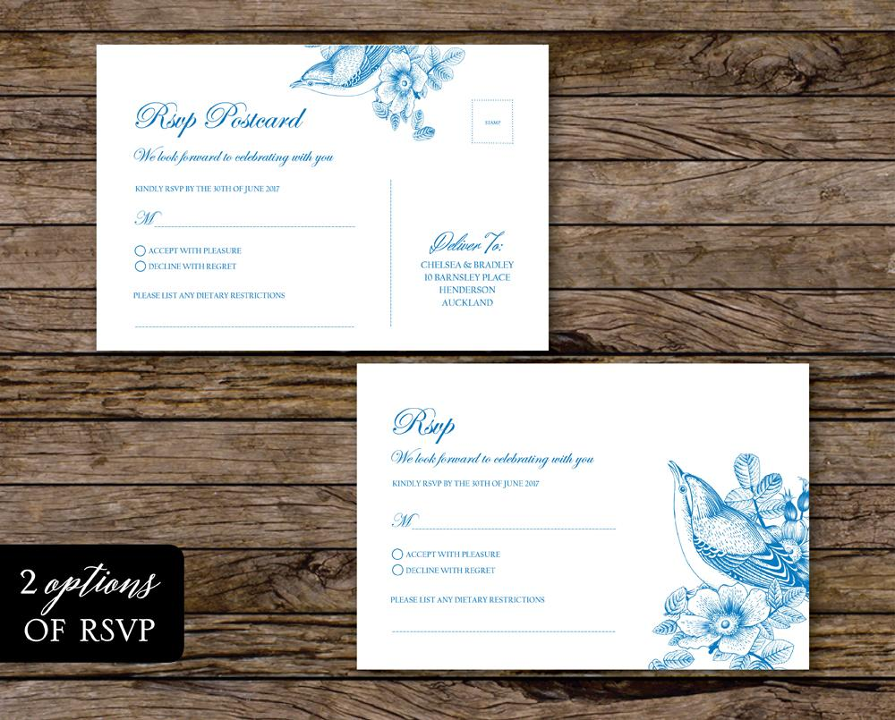 Vintage Blue Floral Wedding RSVP Card Printable Template Instant Download PDF
