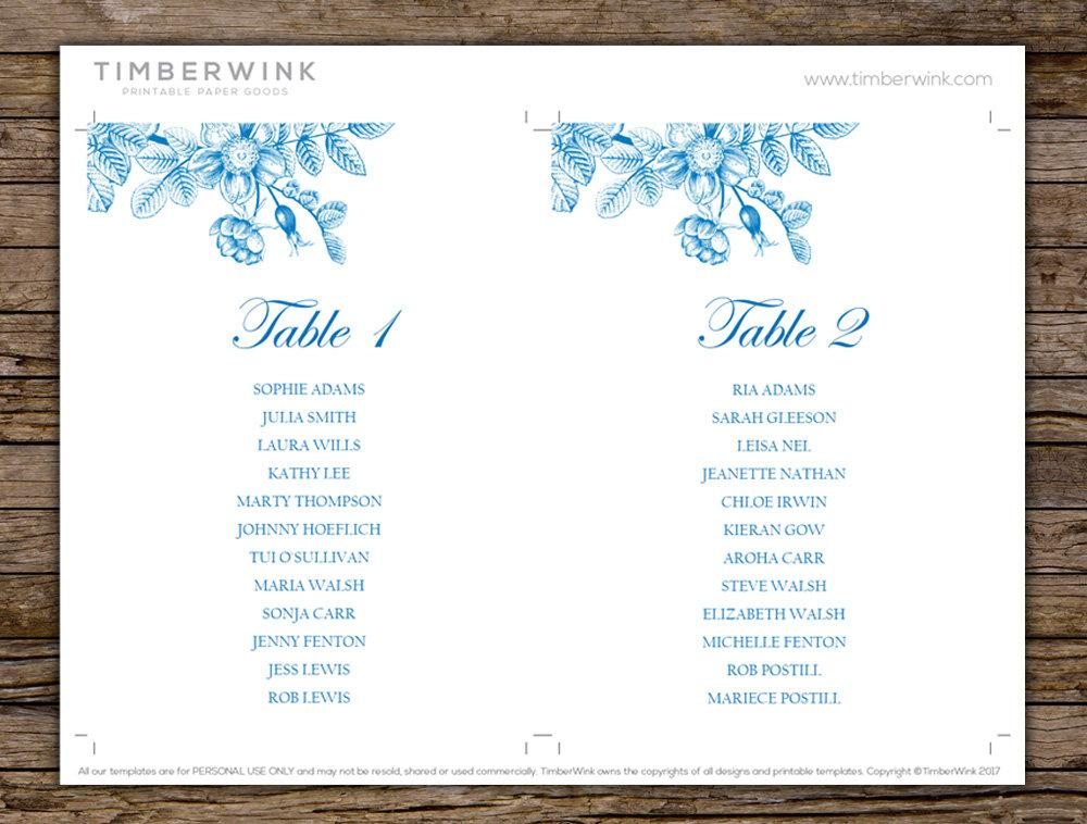 Vintage Blue Floral Wedding Seating Plan Printable Template Instant Download PDF