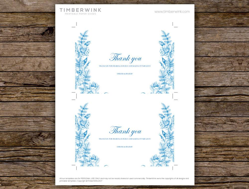 Vintage Blue Floral Wedding Thank You Card Printable Template Instant Download PDF