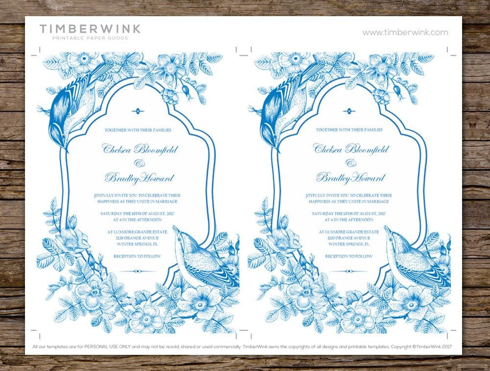 Vintage Frame & Floral Wedding Invitation Printable Template Instant Download PDF