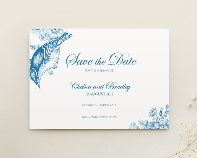Vintage Floral Wedding Save The Date Printable Template