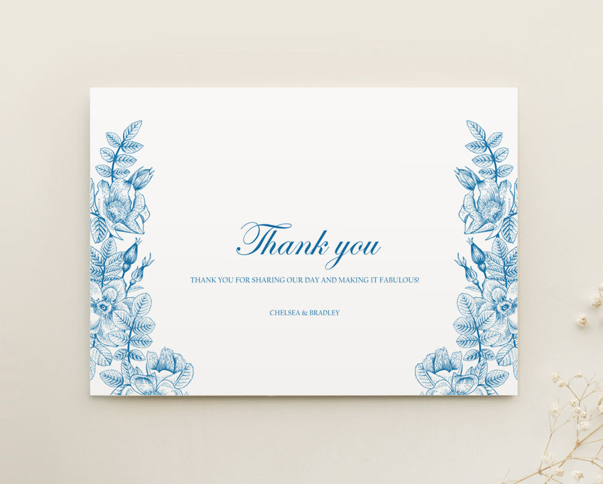 Vintage Floral Wedding Thank You Card Printable Template