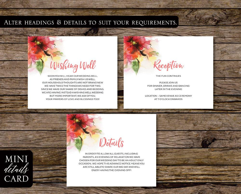 Watercolour Pink Floral Wedding Enclosure/Info Card Printable Template Instant Download PDF