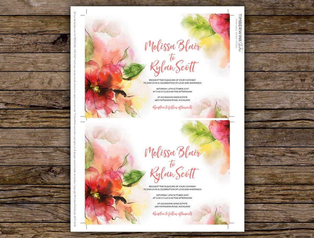 Watercolour Pink Floral Wedding Invitation Printable Template Instant Download PDF