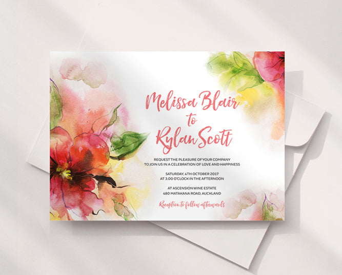 Watercolour Pink Floral Wedding Invitation Printable Template