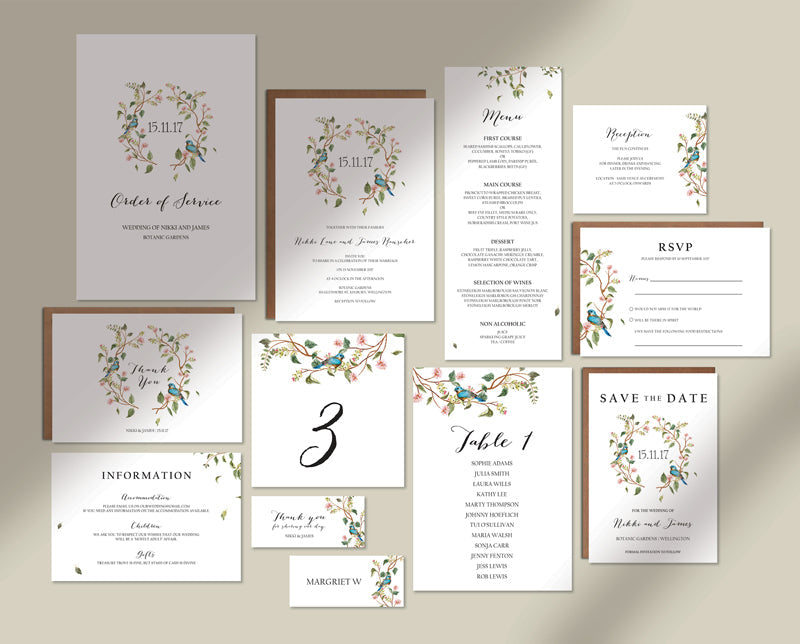 Watercolour Floral Wedding Invitation Suite Printable Template