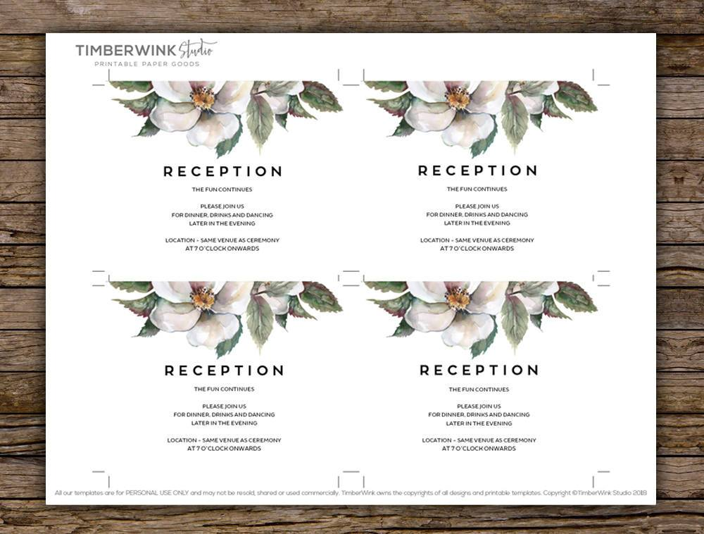 White Floral Magnolia Wedding Enclosure/Details Card Printable Template Instant Download PDF