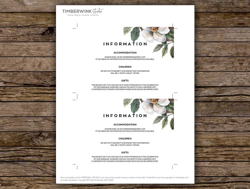 White Floral Magnolia Wedding Enclosure/Info Card Printable Template Instant Download PDF