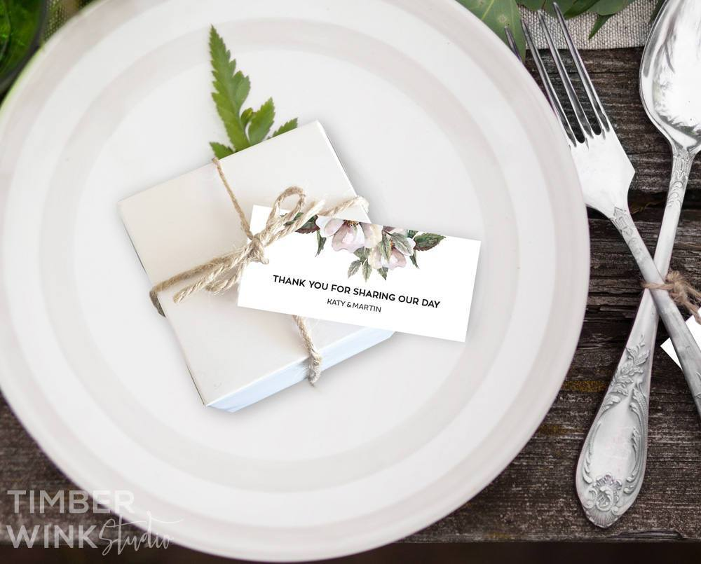 White Floral Magnolia Wedding Favor Tag Printable Template Instant Download PDF