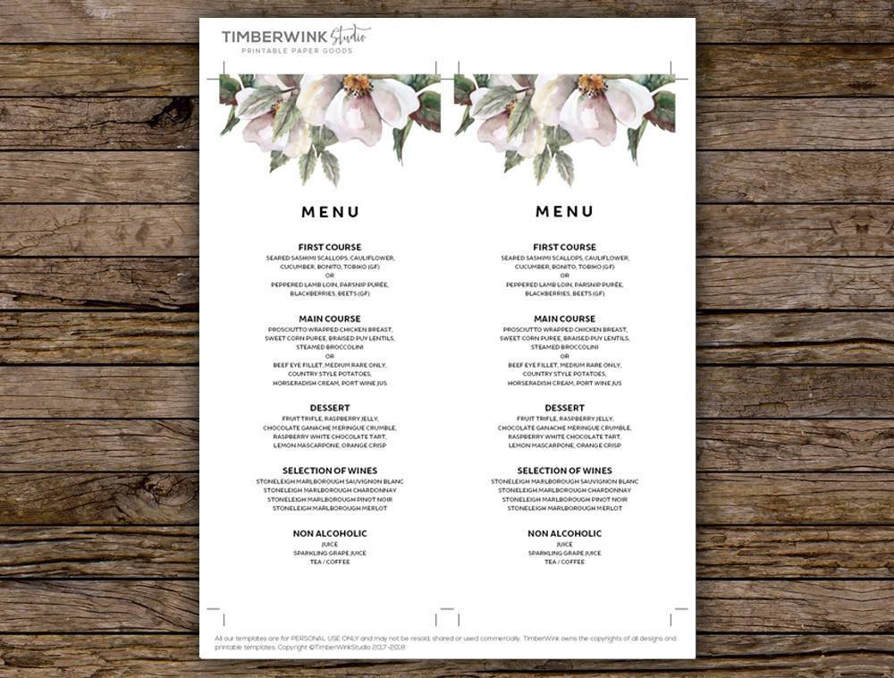 White Floral Wedding Menu Printable Template