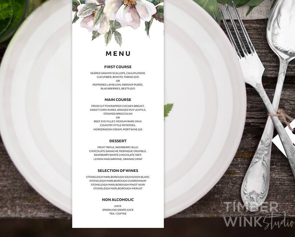 White Floral Magnolia Wedding Menu Printable Template Instant Download PDF