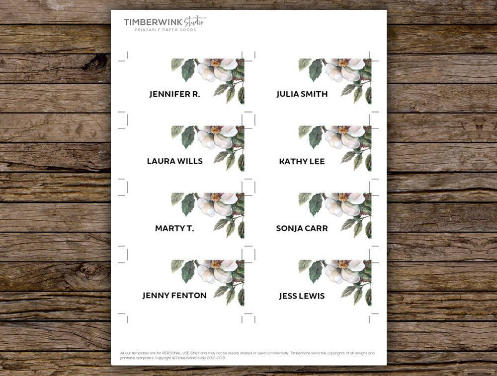 White Floral Wedding Place Card Printable Template