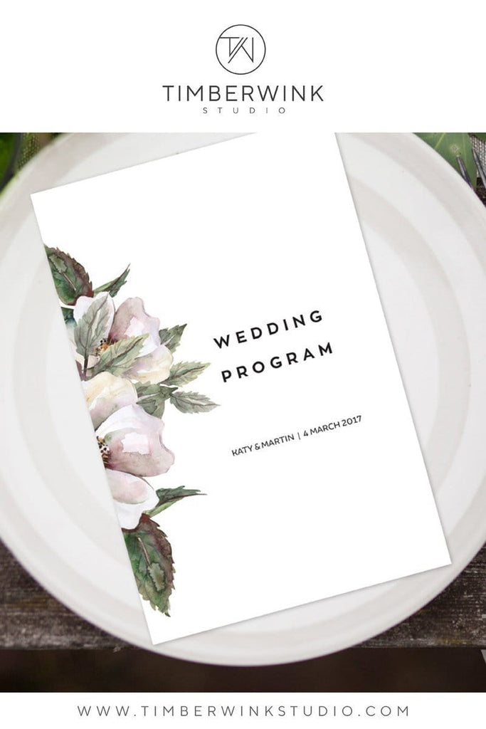 Magnolia Floral Wedding Program Printable Template Instant Download