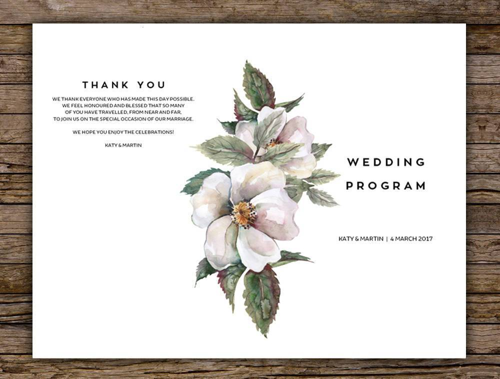 White Floral Magnolia Wedding Program Printable Template Instant Download PDF