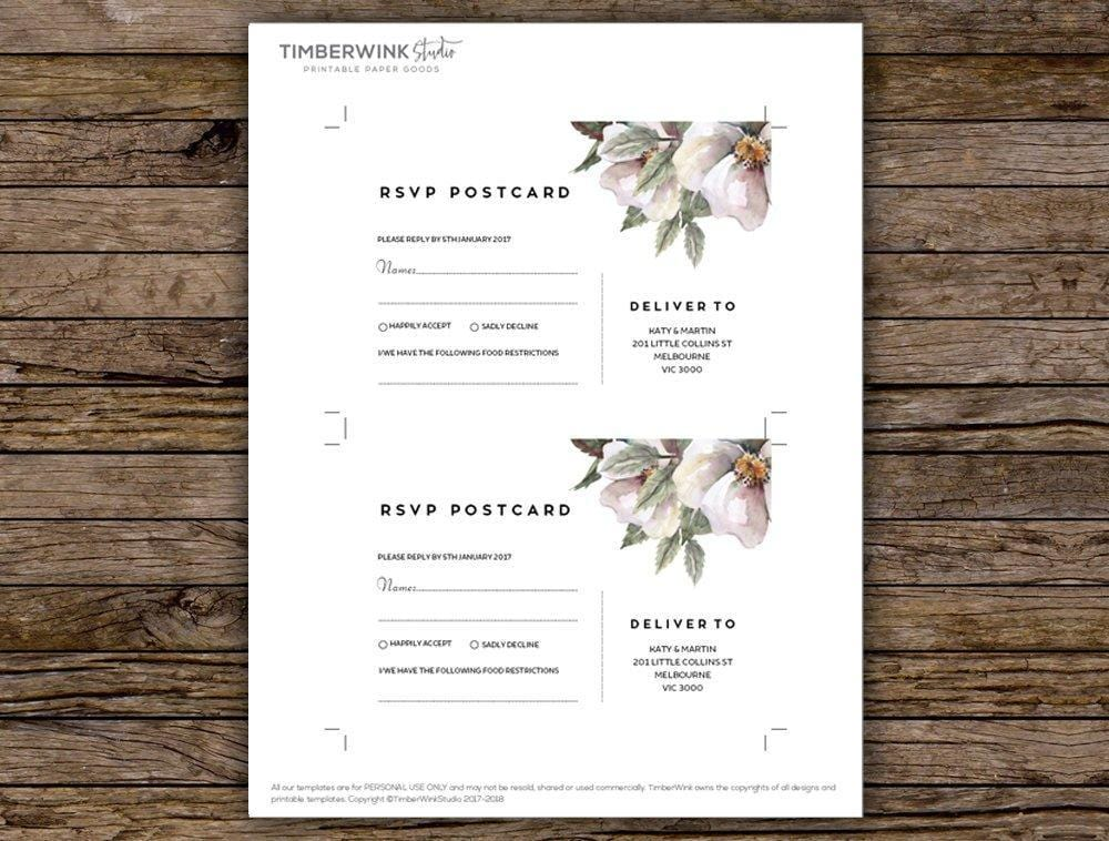 White Floral Magnolia Wedding RSVP Card Printable Template Instant Download PDF