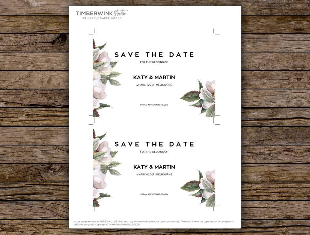 White Floral Magnolia Wedding Save The Date Printable Template Instant Download PDF