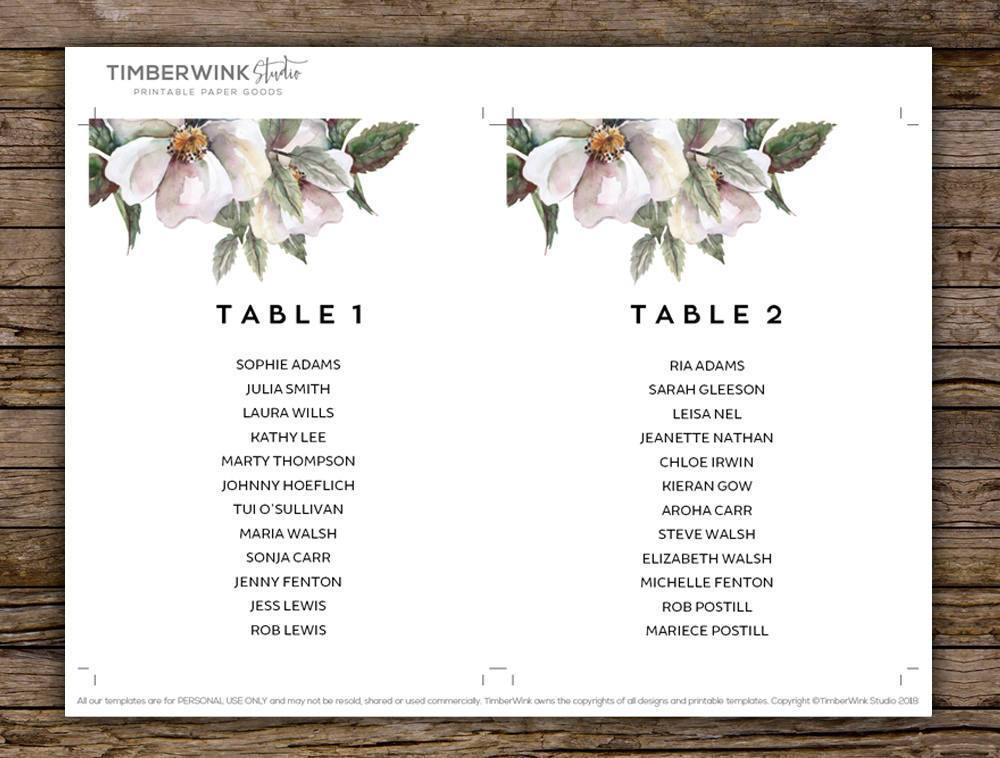 White Floral Magnolia Wedding Seating Plan Printable Template Instant Download PDF