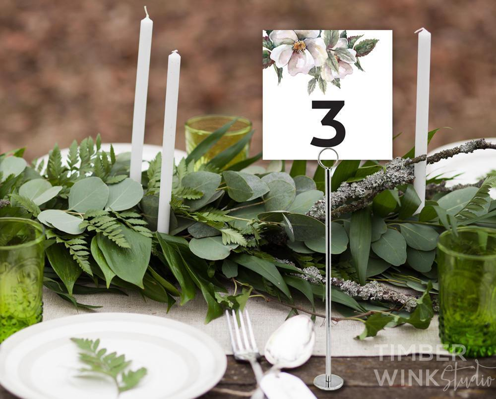 White Floral Magnolia Wedding Table Number Printable Template Instant Download PDF