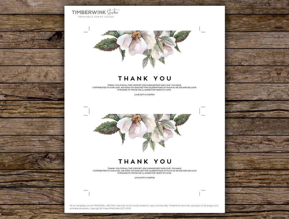White Floral Magnolia Wedding Thank You Card Printable Template Instant Download PDF
