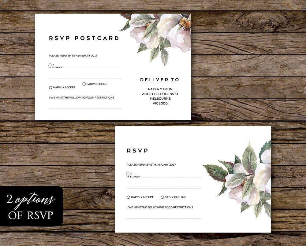 White Magnolia Floral Wedding Invitation Printable Suite Instant Download PDF