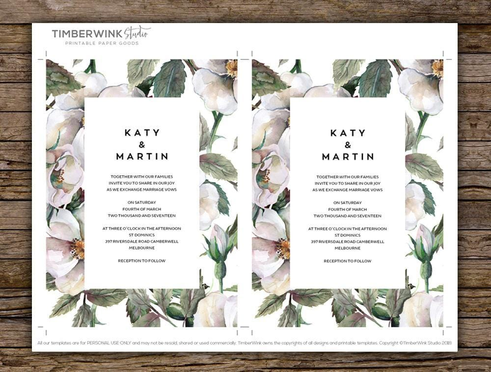 White Magnolia Floral Wedding Invitation Printable Template Instant Download PDF