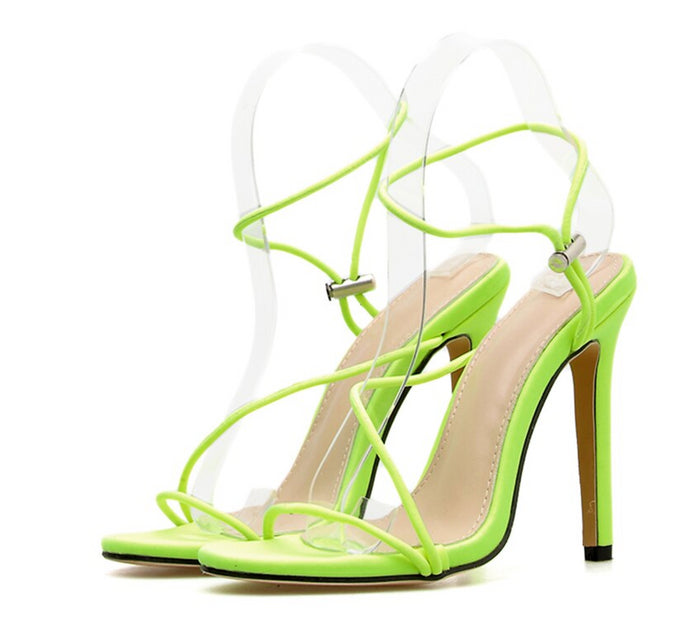 Sandals Open Toe Neon High Heels Ankle Strap - mia mae london