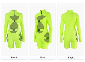 Nia fluorescent buckle long sleeve neon jumpsuit - 3 colours available - mia mae london
