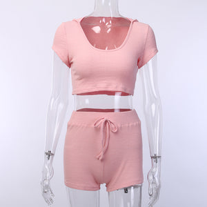 Ribbed hooded top & shorts two piece set - mia mae london