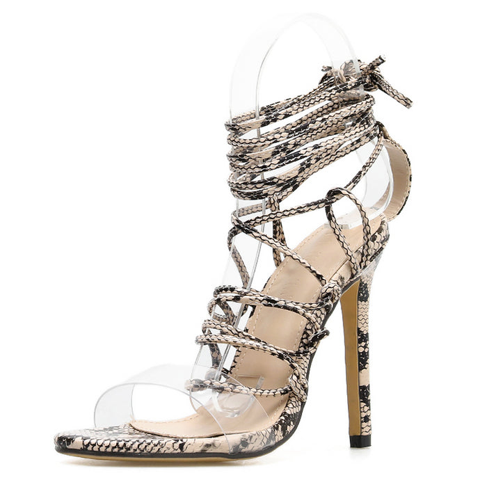 Kya Ankle Strap High Heels PU Leopard Print Sandals - mia mae london