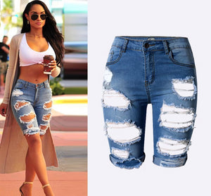 Blue slim stretch ripped denim shorts - mia mae london