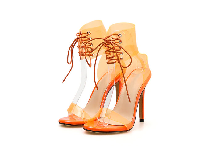Lexi PVC Neon High Heel Lace-Up Sandals - mia mae london