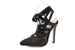 Gladi Pointed Toe Crystal Lace-Up high heels - mia mae london