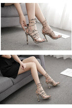 Load image into Gallery viewer, Kya Ankle Strap High Heels PU Leopard Print Sandals - mia mae london