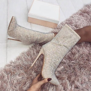 Rhinestone style Ankle Boots High Heel Shoes - mia mae london