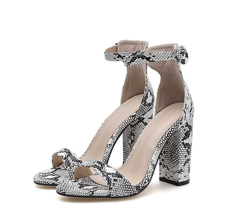 Venom Ankle Strap Snake Print Square heel Sandals - mia mae london
