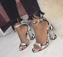 Load image into Gallery viewer, Venom Ankle Strap Snake Print Square heel Sandals - mia mae london