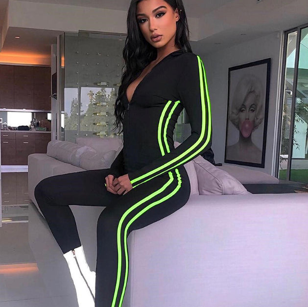 Neon Stripes Bodycon Black Jumpsuit Long Sleeve - mia mae london