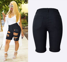 Load image into Gallery viewer, Black slim stretch ripped denim shorts - mia mae london