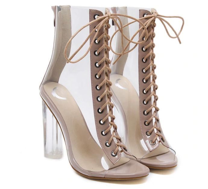Peep Toe Clair PVC Transparent High Heel Ankle Boots - mia mae london