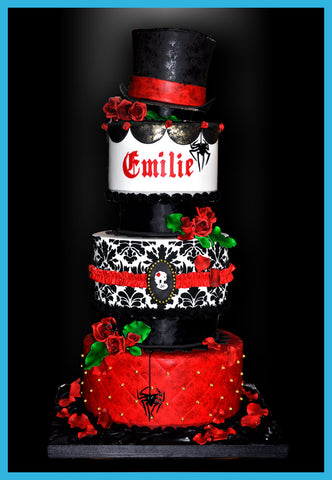 gothic romance tiered wedding cake with damask velvet skeleton cameo rop hat red sugar roses spiders