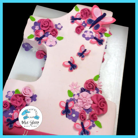 #1 shaped buttercream birthday cake