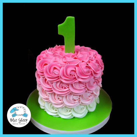 1st birthday pink rosette smash cake nj