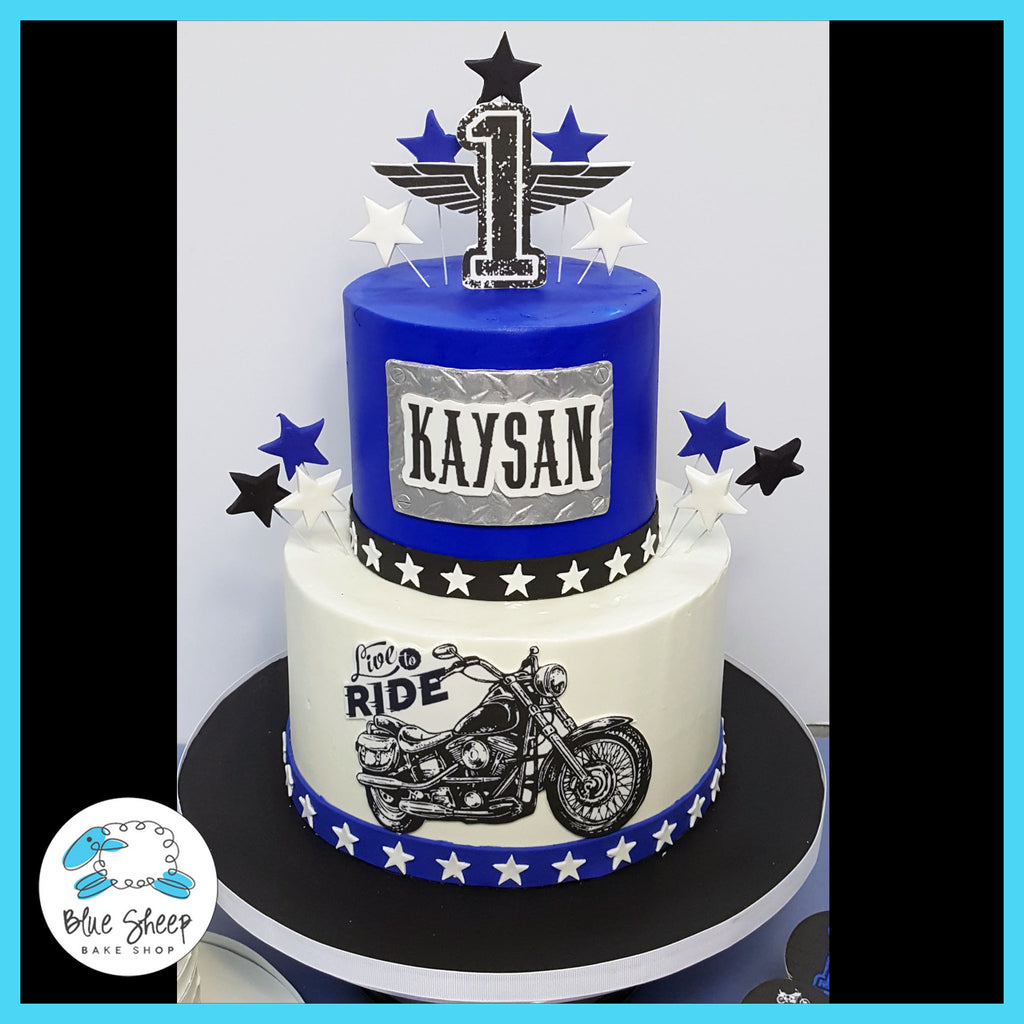 vintage motorcycle 1st birthday cake nj