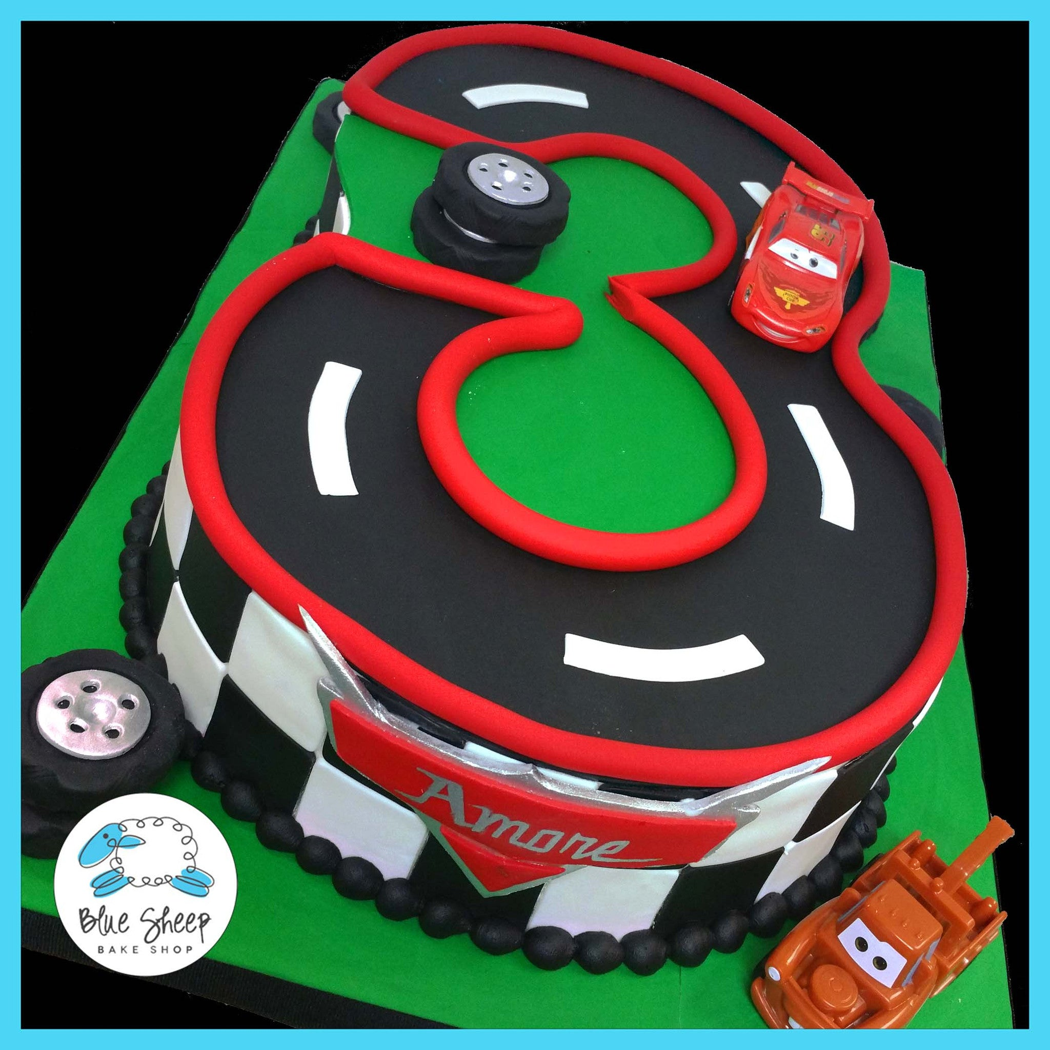 3 Cars Lightning Mcqueen Birthday Cake Nj