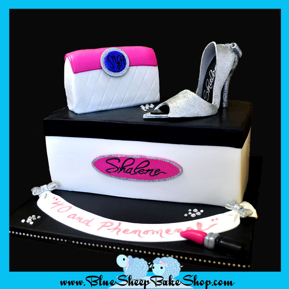 shoe box cake purse cake gumpaste stiletto shoe nj fashion cake