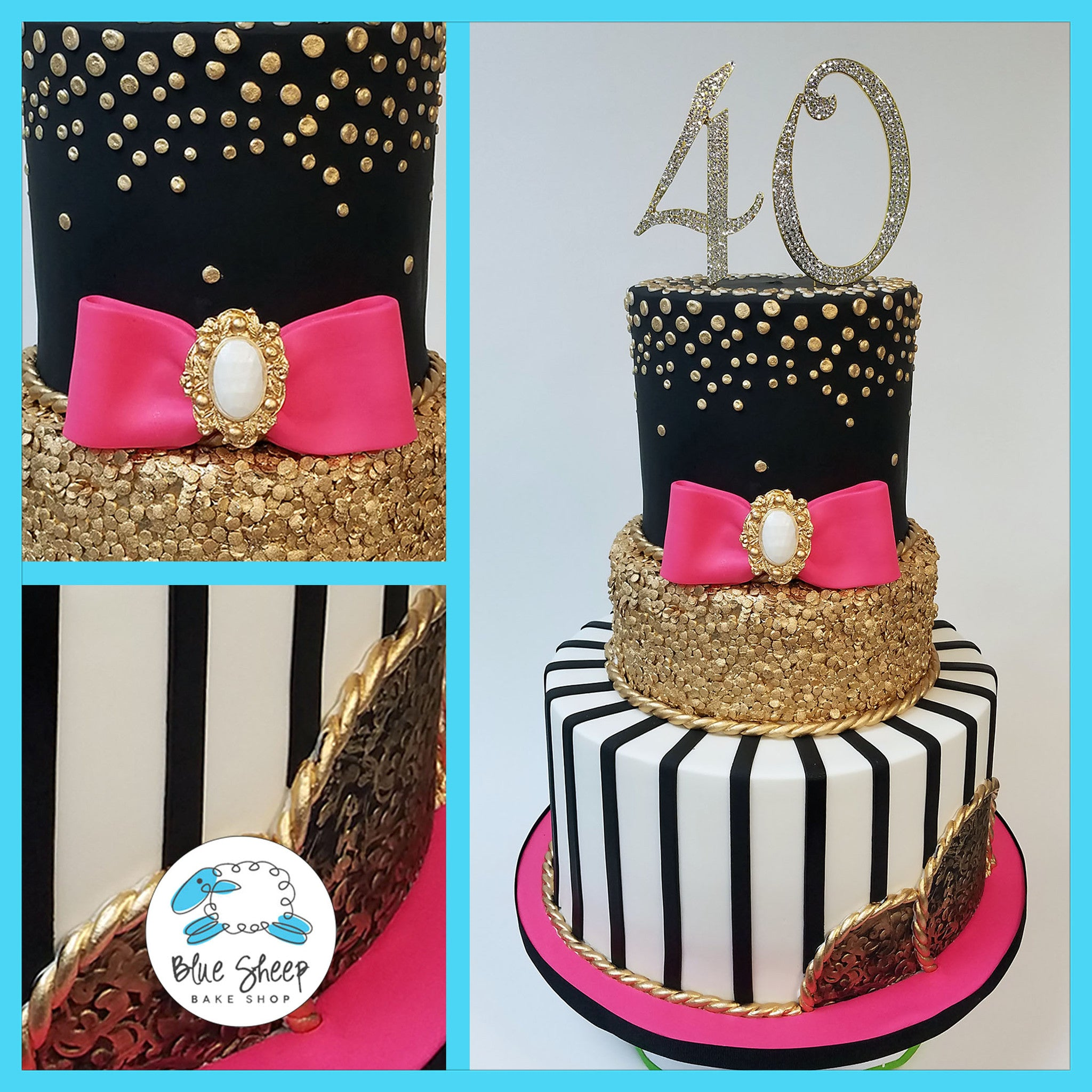 Awe Inspiring Couture Glam 40Th Birthday Cake Blue Sheep Bake Shop Funny Birthday Cards Online Inifodamsfinfo