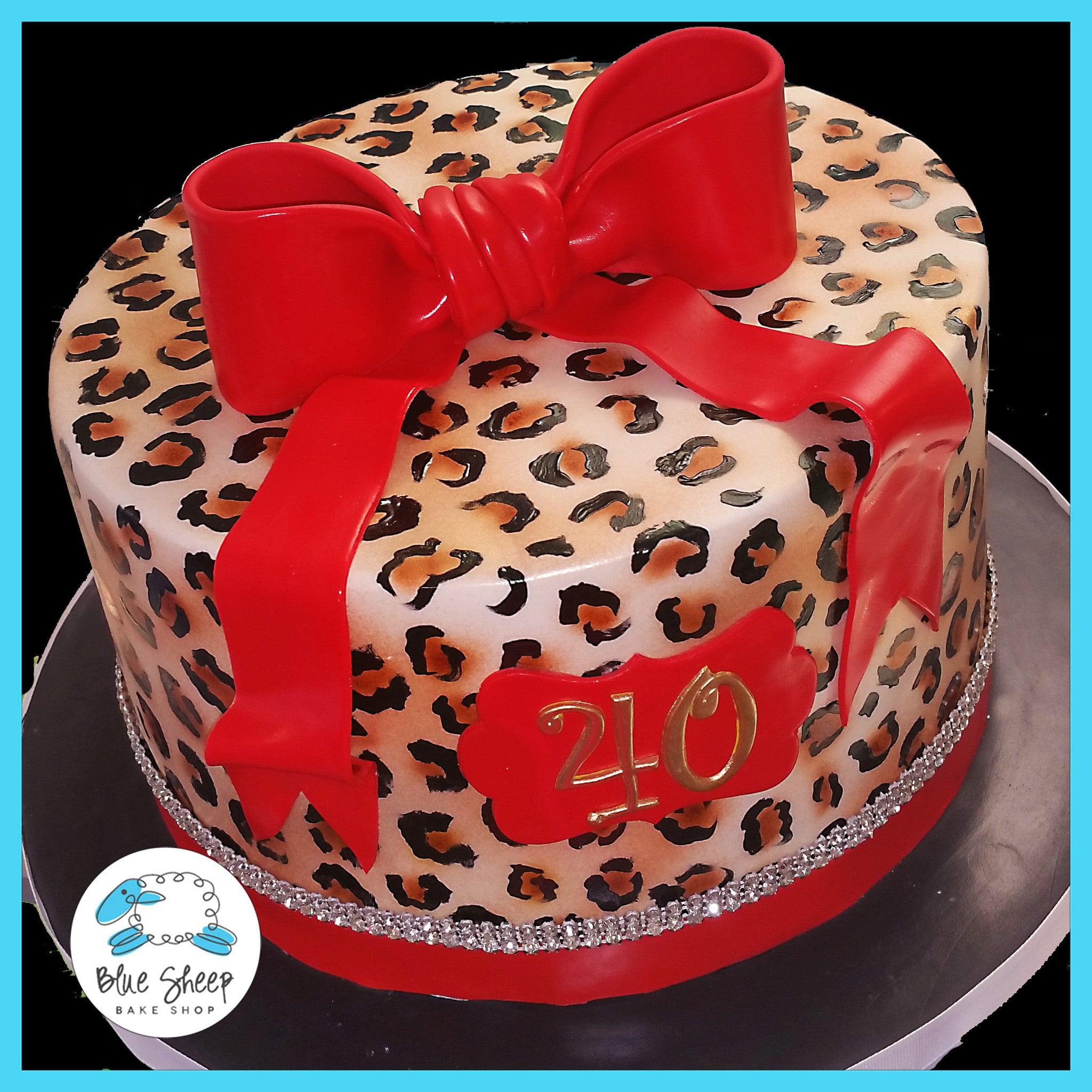 Cheetah Print 40th Birthday Cake Blue Sheep Bake Shop
